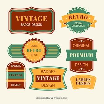 Vintage abzeichen sammlung mit flachem design