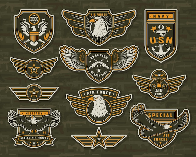Vintage abzeichen und abzeichen der streitkräfte
