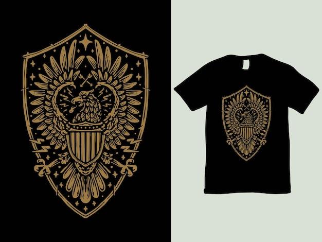 Vintage adler- und schildabzeichen-t-shirt-design
