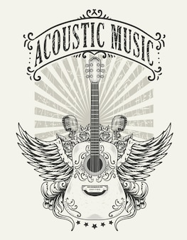 Vintage akustikgitarren-logo