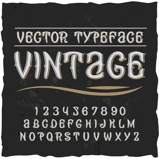 Vintage alphabet mit flacher verzierter schrift mit isolierten ziffern und buchstaben
