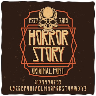 Vintage alphabet schrift namens horror story. emblem design