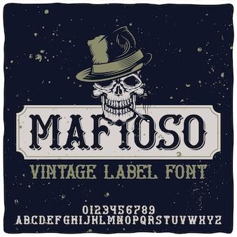 Vintage alphabet und emblem schrift namens mafioso. Kostenlosen Vektoren