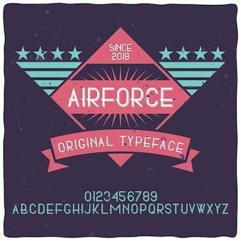 Vintage alphabet und etikettenschrift namens air force.