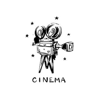 Vintage alte filmkamera auf weißem hintergrund kino handgezeichnete farbe und vektor