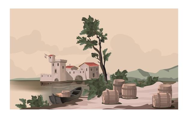 Vintage alte postkarte mit einer schönen landschaft. flussufer, altes schloss, baum, boot, fässer am ufer.