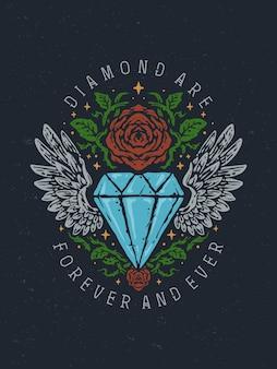 Vintage alte schule diamant und rosen handgezeichnete illustration