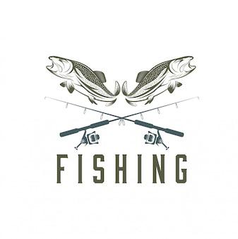 Vintage angeln vorlage