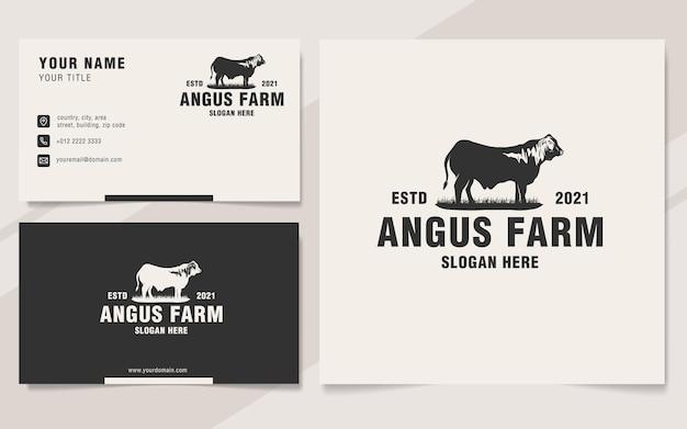 Vintage angus farm logo vorlage monogramm-stil