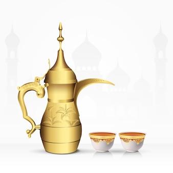 Vintage arabische teekanne und teetasse isoliert. illustration