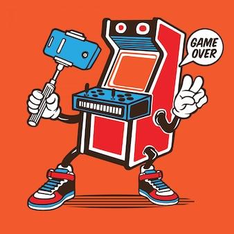 Vintage arcade-spiel selfie charakter