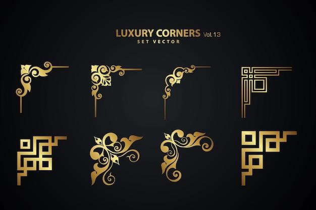 Vintage art deco luxus eckset. geometrische vorlage für rahmen und rahmen