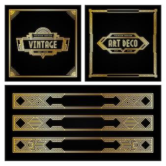 Vintage art-deco-stil rahmen und abzeichen