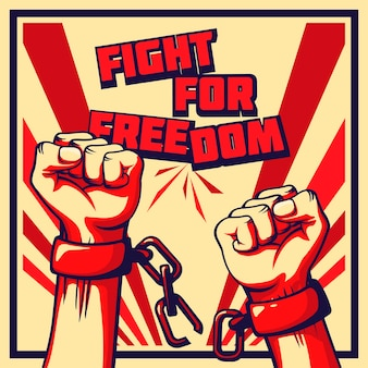 Vintage art fight for freedom poster