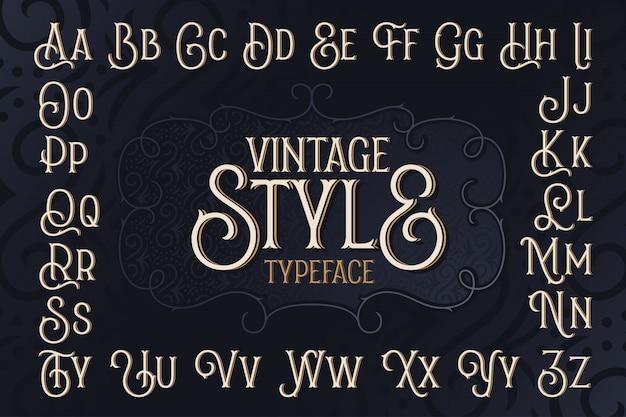 Vintage art schriftart alphabet mit dekorativem rahmen