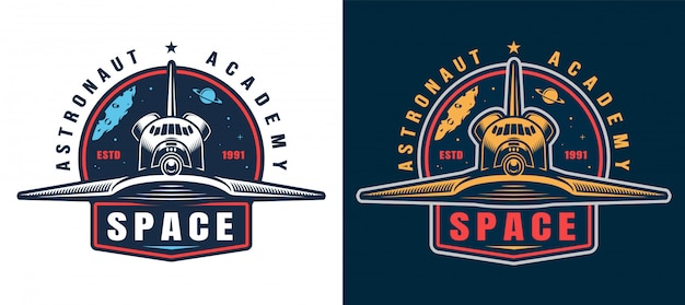 Vintage astronautenakademie-emblemsatz