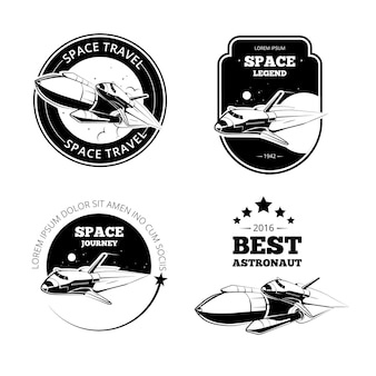 Vintage astronautenetiketten, abzeichen und embleme gesetzt