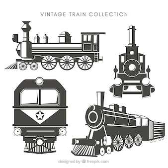 Vintage auswahl von zügen mit tollen designs