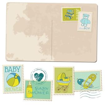 Vintage baby boy ankunft postkarte