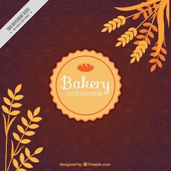 Vintage bäckerei-hintergrund mit weizen