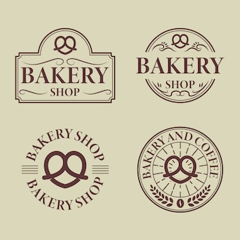 Vintage bäckerei logo badge collection