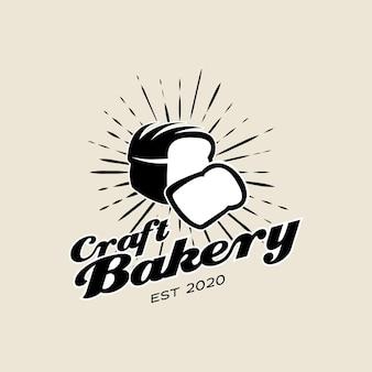 Vintage bäckerei logo design brot vektor
