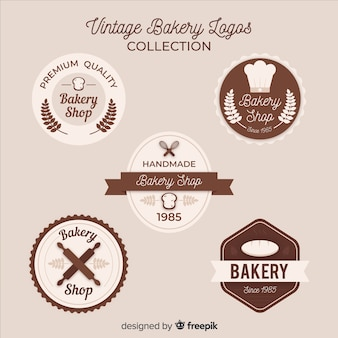 Vintage bäckerei-logo-pack