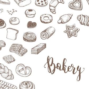 Vintage bäckerei produkte skizzieren hintergrund