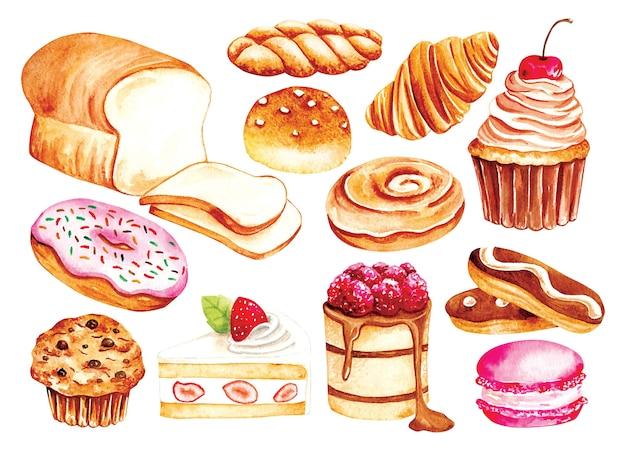 Vintage bäckerei und gebäck aquarellstil