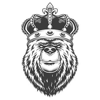 Vintage bärenkopf in der königlichen krone