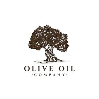 Vintage bäume oliven logo