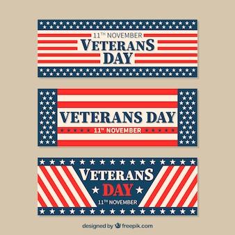 Vintage-banner amerikanische flagge von veterans day