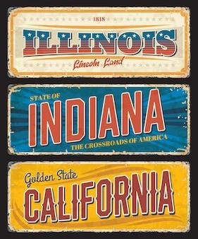Vintage-banner der amerikanischen staaten illinois, indiana und kalifornien, zeichen für reiseziel. usa retro grunge boards, antike abgenutzte schilder