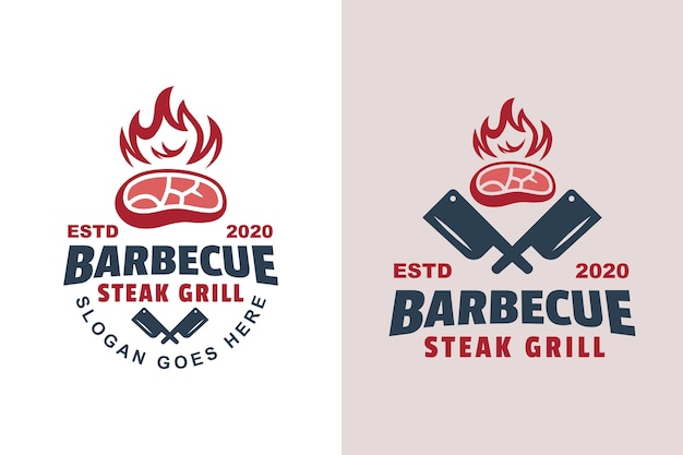 Vintage barbecue steak gegrilltes logo zwei version