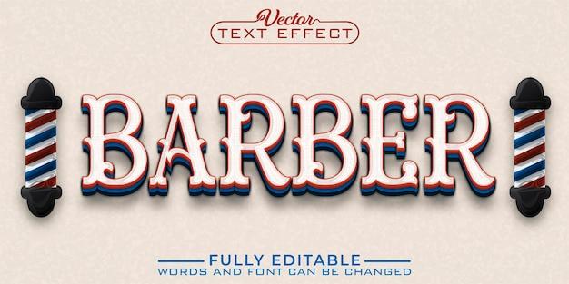 Vintage barber bearbeitbare texteffektvorlage
