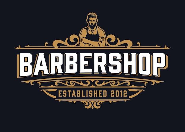 Vintage barber shop logo mit floralen elementen