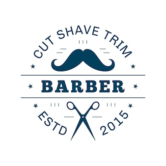 Vintage barbershop emblem, etikett oder logo. flache art strichzeichnungen