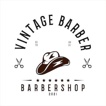 Vintage barbershop logo vektor vorlage cowboyhut und schere vektor für ihr unternehmen