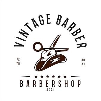 Vintage barbershop-logo-vektor-vorlage mit cowboy-hut und schere-vektor-illustration