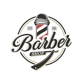 Vintage barbershop logo vorlage