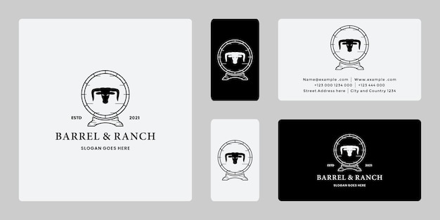 Vintage barrel ranch logo-design mit longhorn-büffel, kuh-logo.
