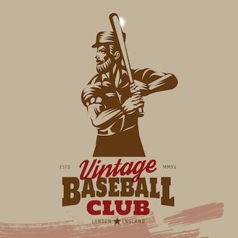 Vintage baseball batter logo