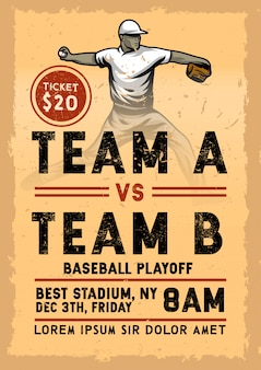 Vintage baseball plakatschablone