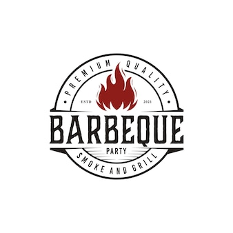 Vintage bbq grill grill label stempel logo design