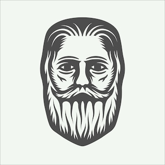 Vintage beardman holzfäller im retro-stil. monochrome grafische kunst. vektorillustration