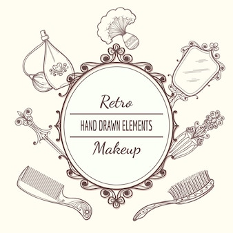 Vintage beauty-rahmen mit haarbürste und spiegel, parfüm und haarnadel. mode vintage schönheitsrahmen vektor-illustration