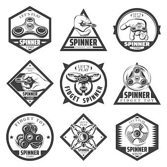 Vintage beliebte spinner-etiketten mit inschriftenhänden, die trendige spielzeuge und verschiedene arten moderner geräte drehen, isoliert