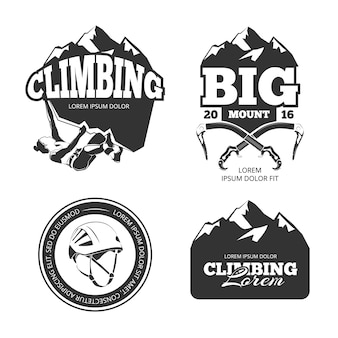 Vintage bergsteigen vektor-logo und etiketten gesetzt