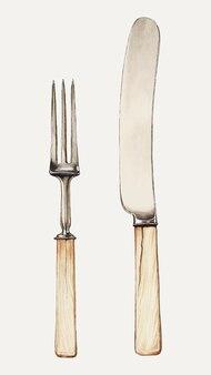 Vintage besteck-vektor-illustration, remixed aus dem artwork von grace halpin
