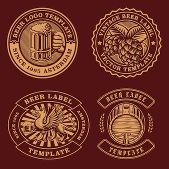 Vintage bier embleme bündel